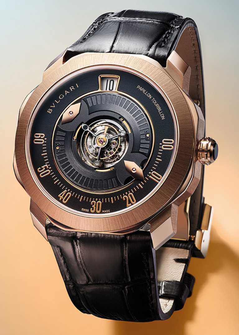 BVLGARI「Octo Roma Papillon Central Tourbillon」蝴蝶中置陀飛輪腕錶,41mm,玫瑰金錶殼,BVL332型自動上鏈機芯,搭載中央飛行陀飛輪╱3,770,000元。(圖╱BVLGARI提供)