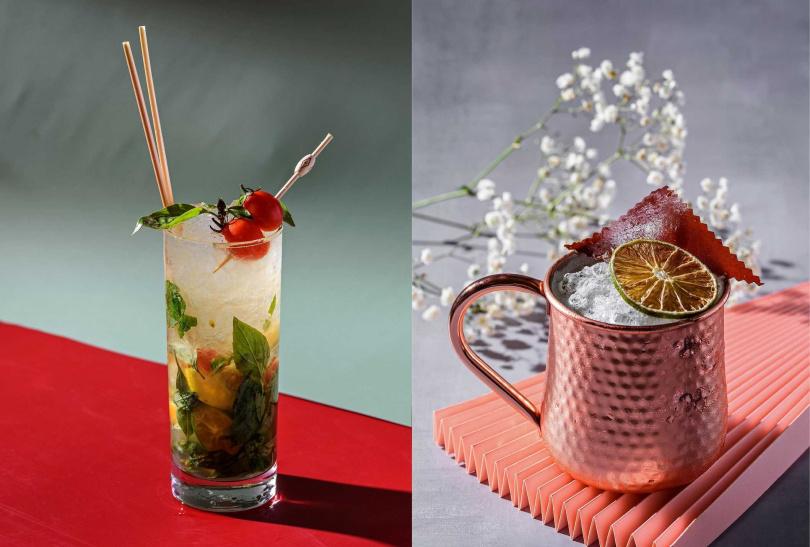 「祖靈之眼」(左)以小米酒取代蘭姆酒,還可嘗到九層塔香氣;「彩虹橋的神話」(右)使用獨家「蜂年祭」蜂蜜啤酒與小米酒混合。(圖/小覓秘Little Secret提供)