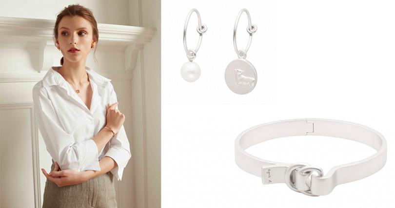 綿羊浮雕珍珠耳環NT2,480,D形手環NT3,580。(圖/agnès b.提供)