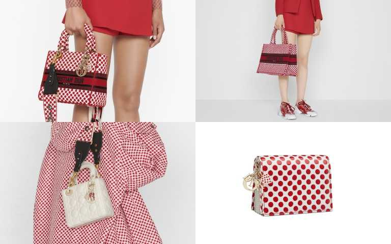 Dioramour Lady Dior 紅色波卡圓點刺繡帆布提包/150,000元、Lady Dior 拿鐵白籐格紋飾愛心吊飾小型提包/140,000元、Book 紅色波卡圓點刺繡帆布小型托特包/93,000元、紅色波卡圓點五層小牛皮卡夾附可拆式鏈帶/30,000元(圖/品牌提供)