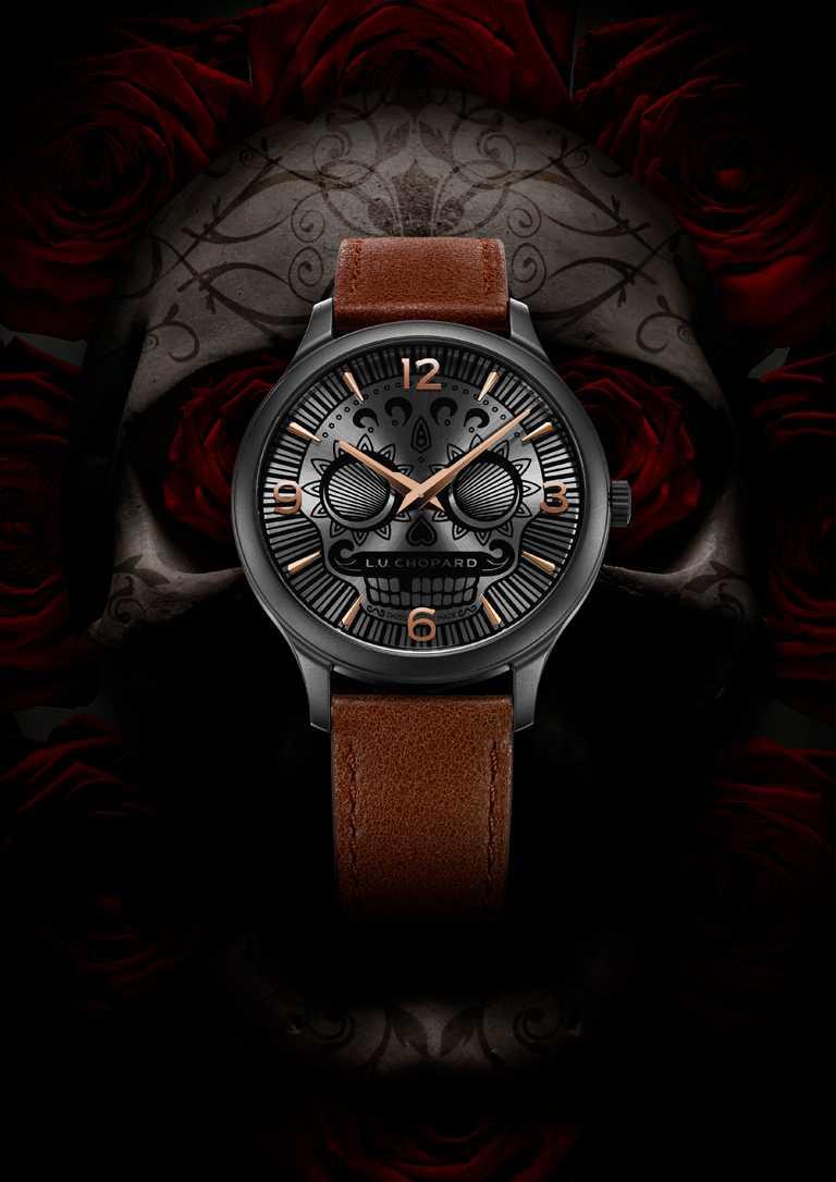 全新CHOPARD「L.U.C Skull One」系列腕錶,以墨西哥「亡靈節」經典的「卡翠娜骷髏頭」為靈感來源。(圖╱CHOPARD提供)