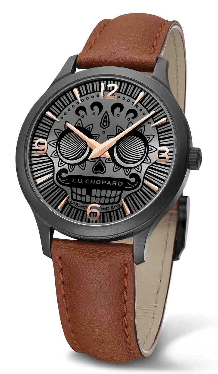 CHOPARD「L.U.C Skull One」系列腕錶╱40mm,精鋼錶殼,限量100只╱346,000元。(圖╱CHOPARD提供)
