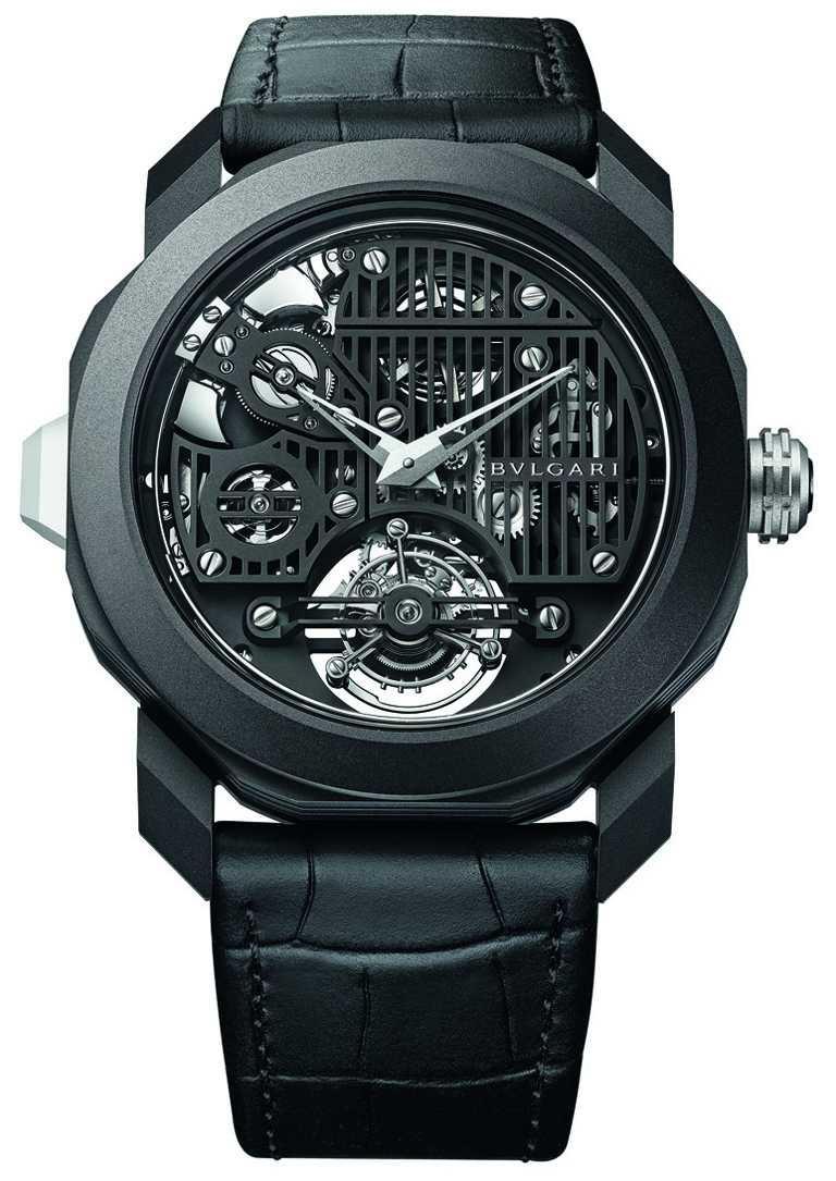 BVLGARI「OCTO ROMA Carillon Tourbillon」鐘樂報時陀飛輪腕錶,44mm,黑色DLC鍍膜霧面鈦金屬錶殼,BVL428型手動上鏈機芯,限量15只╱8,050,000元。(圖╱BVLGARI提供)