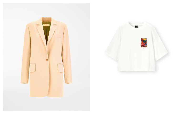 Max Mara SS21 杏桃色西裝外套/66,800元;GU x M/mika ninagawa聯名系列女裝短版印花T恤(5分袖)/590元