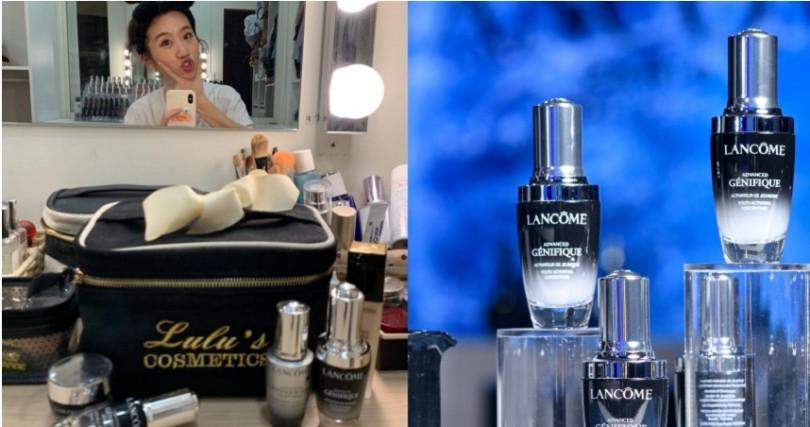 Lulu是LANCOME蘭蔻小黑瓶鐵粉。LANCOME超未來肌因賦活露30ml/3,000元。(圖/LULU IG)