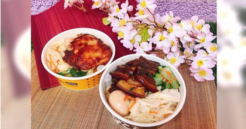 點點心Mini「蔥油雞扒飯」、興記菜館「梅干扣肉飯」。(圖/Global Mall提供)