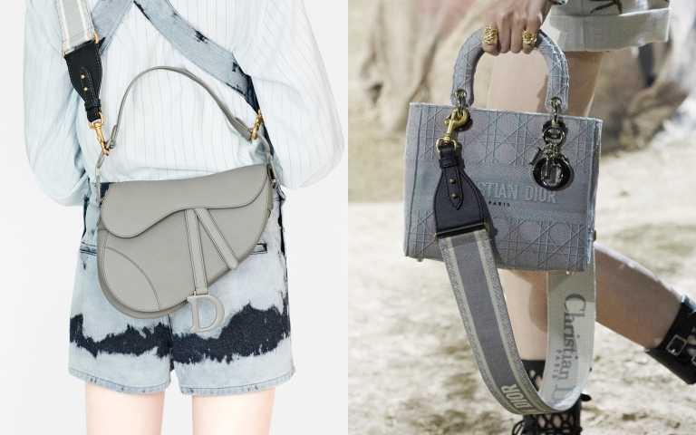 左Dior Saddle Ultra Matte 石灰色小牛皮馬鞍包/115,000元;(右)Dior  Lady D-Lite 石灰色籐格紋刺繡帆布中型提包 NTD140,000元(圖/品牌提供)