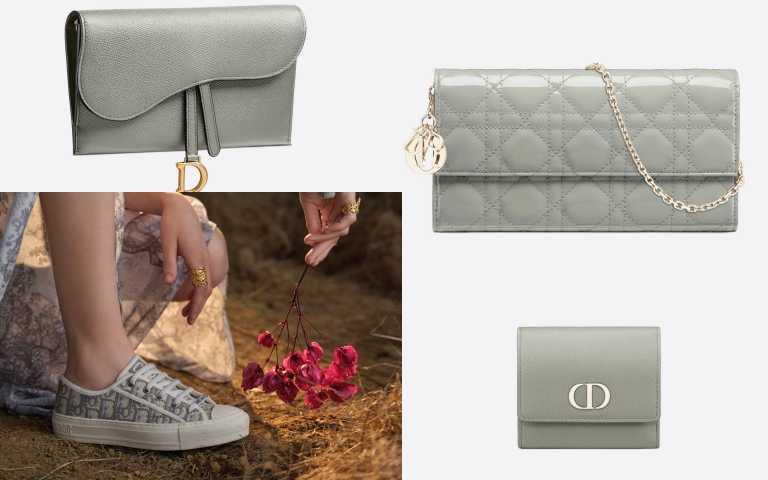 入門款請看:Dior Saddle 石灰色粒紋小牛皮長夾/40,500元;(右上)Lady Dior 石灰色漆亮面籐格紋小牛皮長夾/36,500元;左下:Dior Walk'n'Dior Oblique 石灰色刺繡帆布休閒鞋 NTD32,000元;右下:Dior 30 Montaigne 石灰色小牛皮三折皮夾 /20,000元(圖/品牌提供)