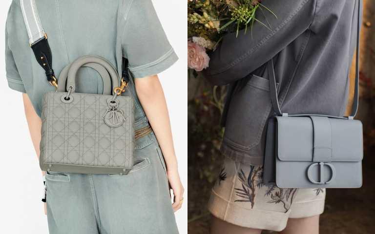 Lady Dior Ultra Matte 石灰色籐格紋小牛皮中型提包/150,000元(背帶另購);(右) Dior 30 Montaigne 石灰色光滑小牛皮 CD 搭扣翻蓋包/120,000元(圖/品牌提供)