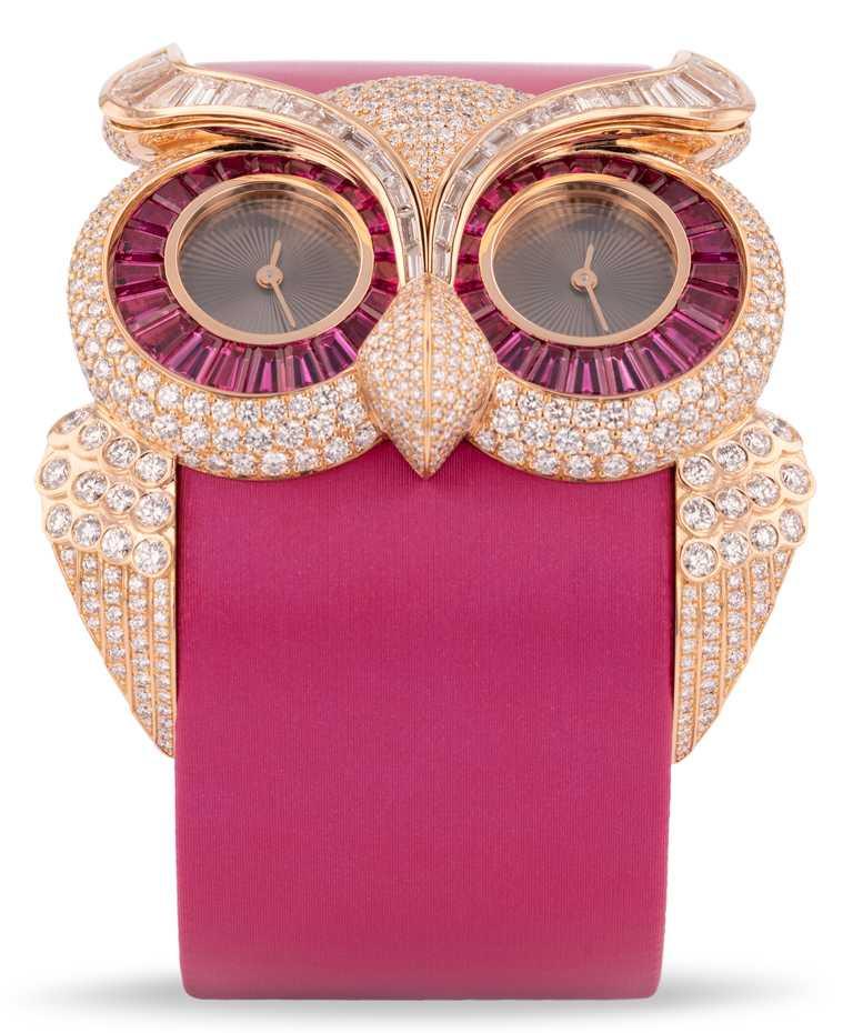 Chopard「Animal World動物世界」系列腕錶,貓頭鷹╱13,550,000元。(圖╱Chopard提供)