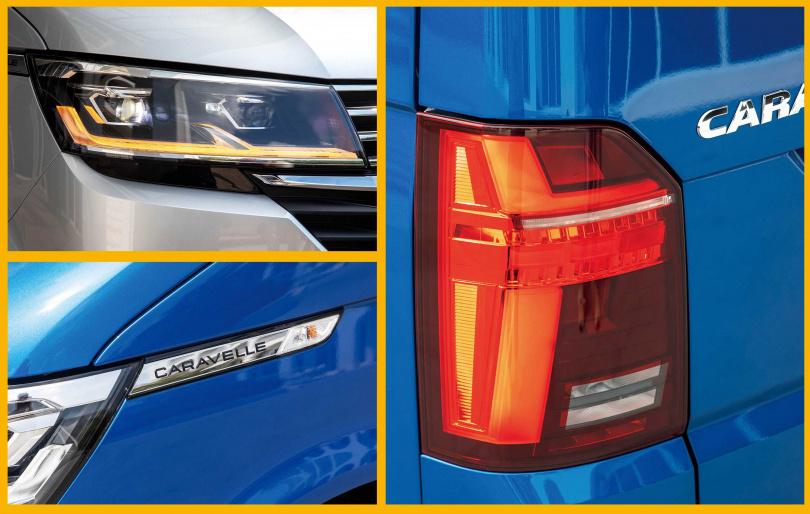 T6.1 Caravelle的頭尾燈,全面更新為帶有科技感的光條,前葉子板也嵌上車系銘牌。(圖/張文玠攝)