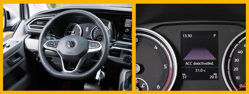 換上集團新式樣的MQB方向盤後,車主可透過中央行車資訊螢幕,調整智慧駕駛輔助的功能。(圖/張文玠攝)