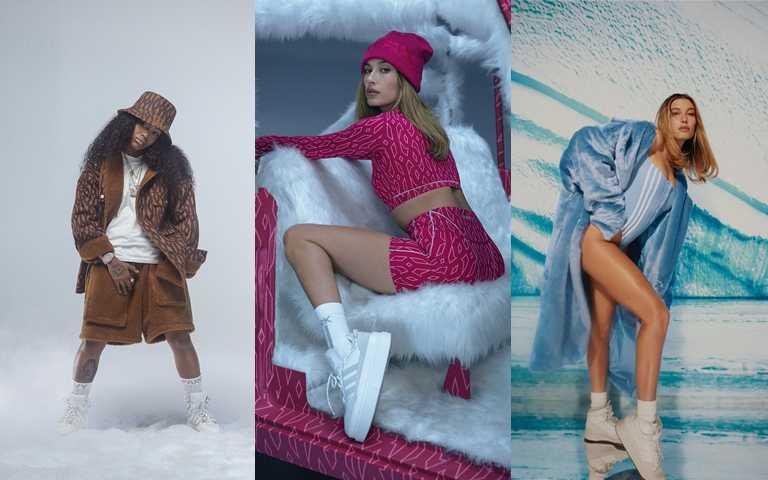 新系列力邀美國創作歌手Kaash Paige、時尚ICON Hailey Bieber演繹ICY PARK系列單品。(圖/adidas x Ivy Park)