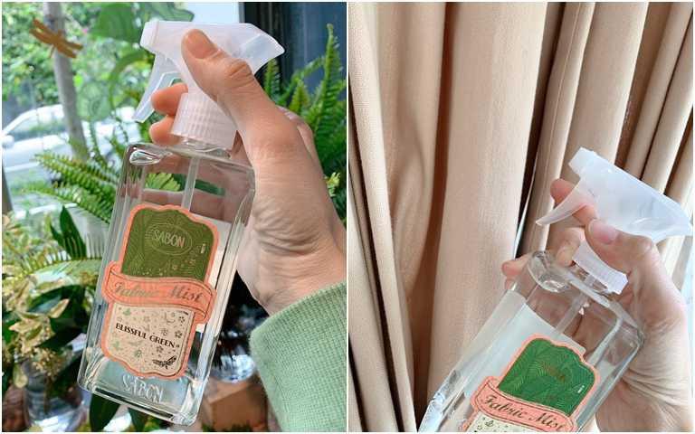 SABON綠意叢林織物噴霧350ml/980元不管是衣服、抱枕、窗簾都能噴灑,小資女可以拿它來代替香水XD。(圖/吳雅鈴攝影)