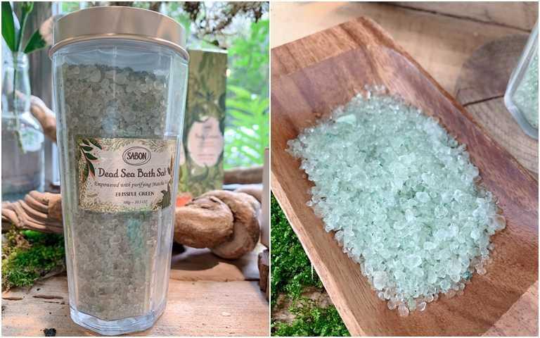 SABON綠意叢林浴鹽300g/1,080元有添加抹茶萃取,富含維他命與抗氧化物,讓肌膚跟心靈都能得到深層淨化。(圖/吳雅鈴攝影)