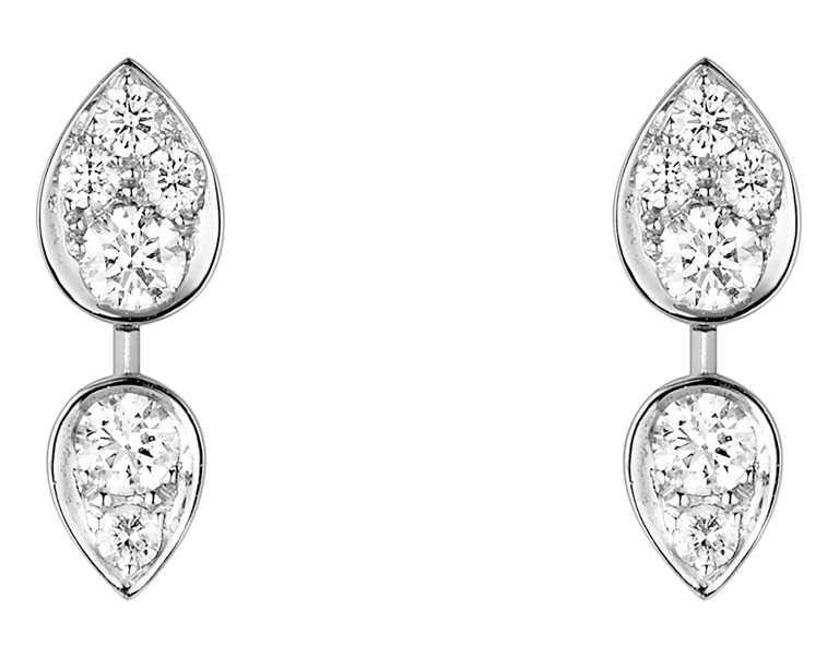 CHAUMET「Joséphine Ronde d'Aigrettes」18K白金鑲鑽石耳環╱193,000元。(圖╱CHAUMET提供)