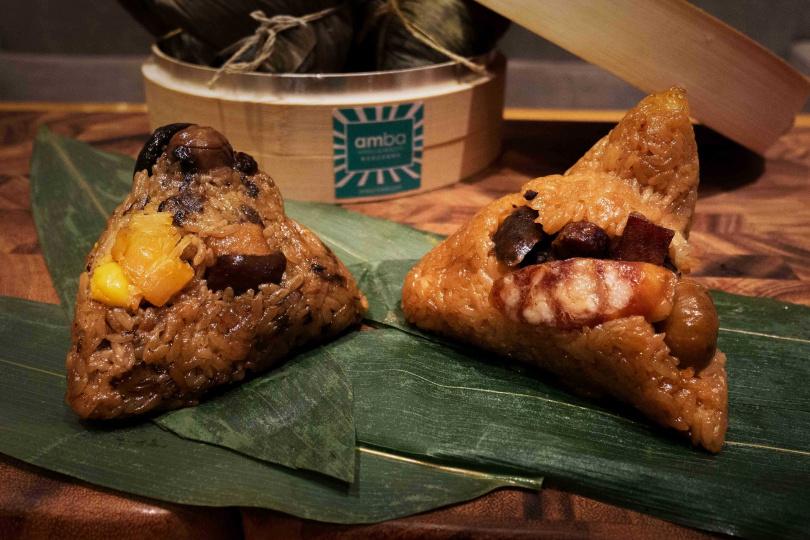 「客家廣式鮮粽禮盒」含烏魚子三寶臘味粽、干貝梅干扣肉粽各兩顆。(980元,圖/意舍酒店提供)