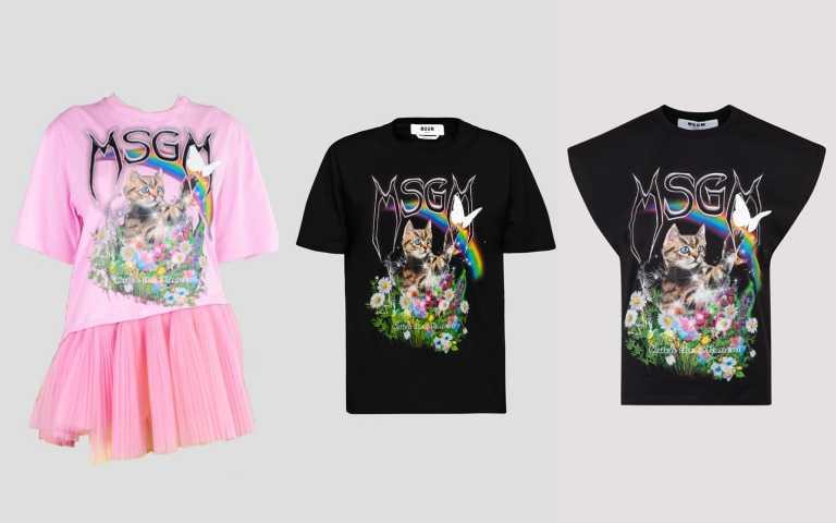 貓咪撲蝶粉色薄紗拼接上衣16,800元、黑色短袖上衣9,500元、黑色斜口袖上衣9,300元(圖/品牌提供)
