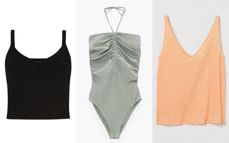 妳可以選這些>>ALLSAINTS Ivana黑色細肩帶修身背心/9,000元、ZARA縮褶設計連體衣/650元、H&M亞麻背心上衣/399元(圖/品牌提供)