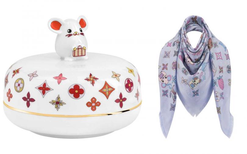 RAT 陶瓷收納盒/39,700元、VUITTONITE MONOGRAM 披肩/29,500元(圖/品牌提供)