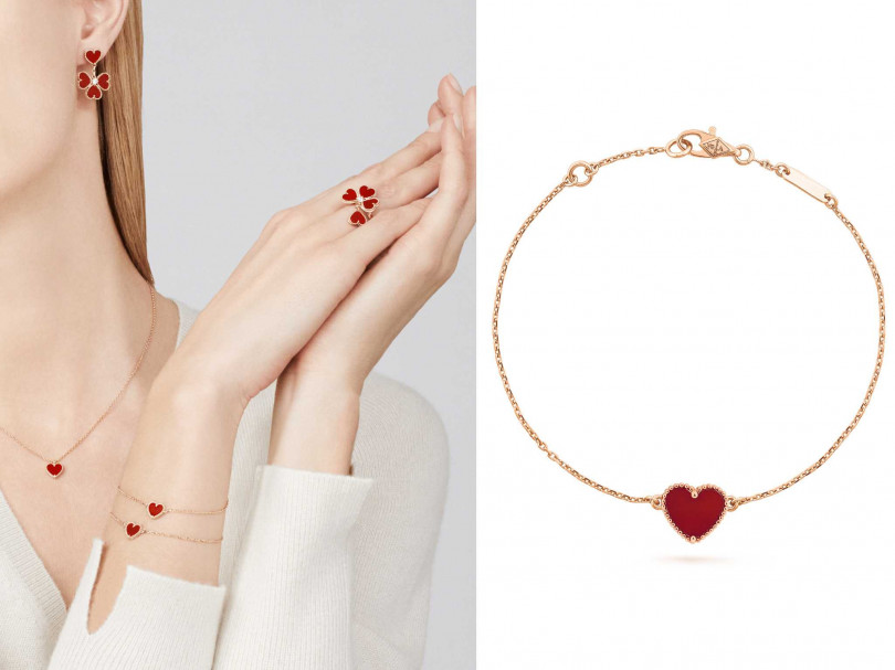 (左)VanCleef & Arpels「Sweet Alhambra系列」珠寶;(右)VanCleef & Arpels「Sweet Alhambra系列」心形手鍊╱43,000元(圖╱Van Cleef & Arpels提供)