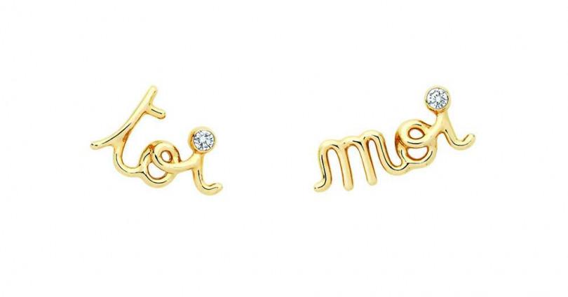 DIOR「Oui系列」Toi Moi黃K金鑲鑽不對稱耳環╱61,500元(圖╱DIOR提供)