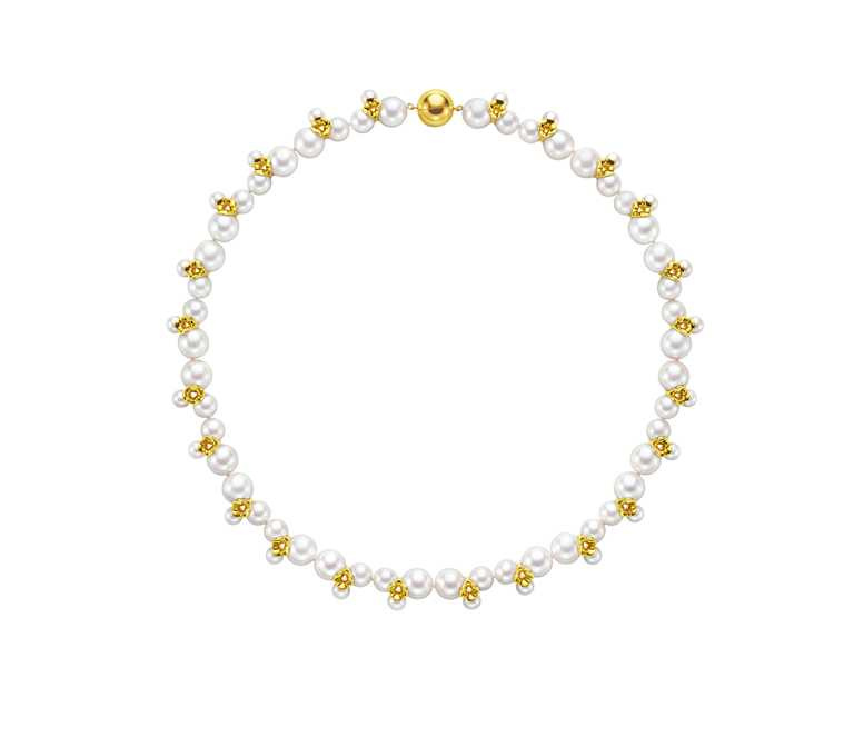 TASAKI「ILLUSION系列」珍珠黃K金串鍊╱873,000元。(圖╱TASAKI提供)