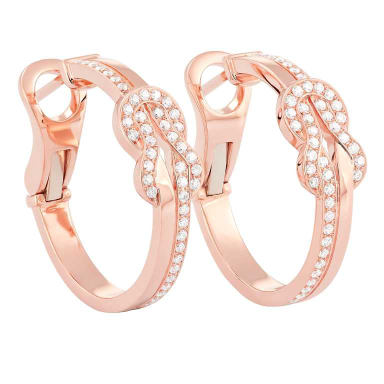 FRED「Chance Infinie系列」玫瑰金鑽石耳環╱165,000元。(圖╱FRED提供)