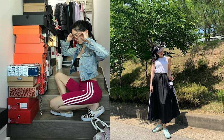 品牌經典的三槓設計,變形款的長褲、單車褲單品今夏潮人依舊狂曬。(圖/hwangseungun_ IG,marcellasne_IG)