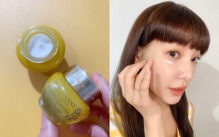 歐舒丹蠟菊賦活濃萃眼霜15ml/3,150元  作為眼膜使用時,可以在眼周厚敷5分鐘後,再將多餘的眼霜按摩至吸收就OK。(圖/吳雅鈴攝影)