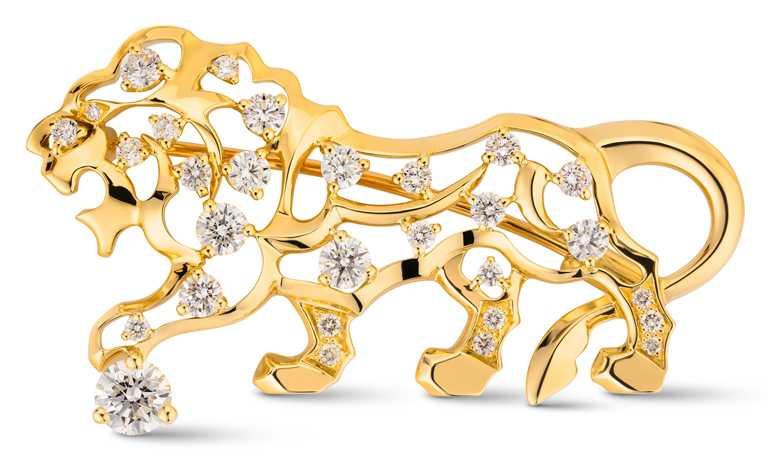 CHANEL「The Icons of 1932」系列高級珠寶,Lion 18K黃金鑲鑽胸針╱739,000元。(圖╱CHANEL提供)