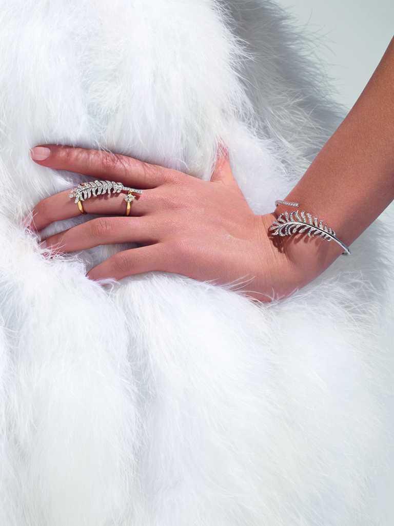 CHANEL「The Icons of 1932」系列高級珠寶,Plume 18K白金及黃金鑽石戒指╱1,121,000元。(圖╱CHANEL提供)