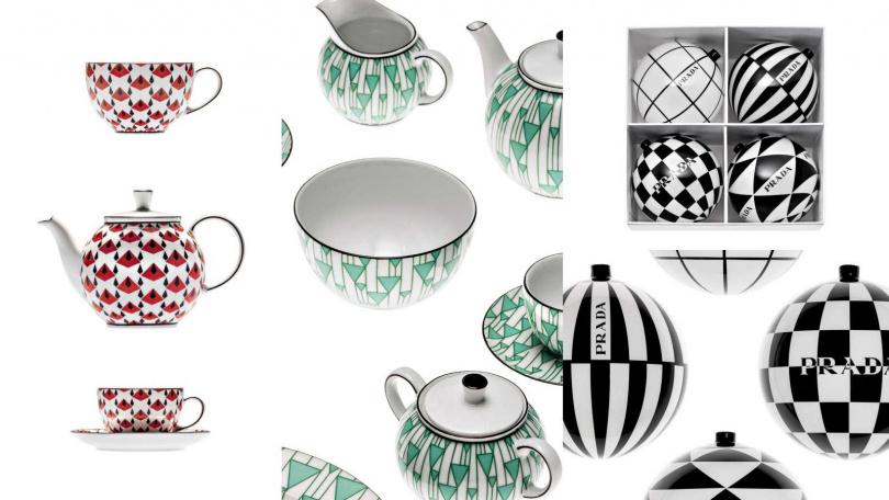 Prada 幾何2入茶杯組/10,500元、幾何茶壺/12,500元、幾何4入咖啡組/17,500 元、幾何奶盅糖罐組合/12,500元、幾何2入麥片碗組/7,100元、聖誕樹裝飾球/10,000元(圖/品牌提供)