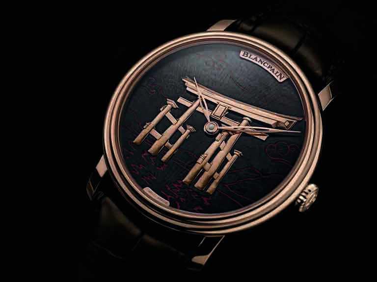 BLANCPAIN「Métiers d'Art大藝術家」系列,「寺廟」備長炭工藝腕錶╱18K紅金錶殼,備長炭錶盤,42mm╱5,113,000元。(圖╱BLANCPAIN提供)