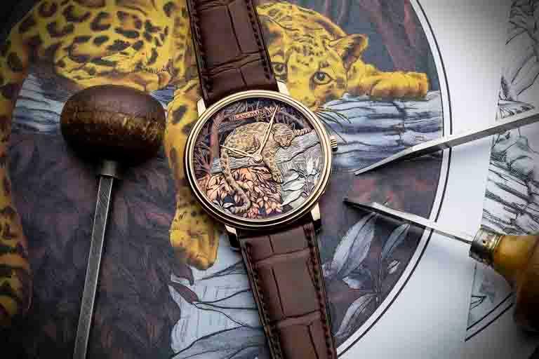 BLANCPAIN「Métiers d'Art大藝術家」系列,「台灣雲豹」赤銅工藝腕錶╱18K紅金錶殼,赤銅工藝錶盤,45mm,全球獨家限量款╱5,113,000元。(圖╱BLANCPAIN提供)