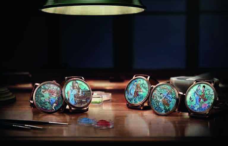 BLANCPAIN「Métiers d'Art大藝術家」系列,「梁祝」微繪琺瑯工藝腕錶。(圖╱BLANCPAIN提供)