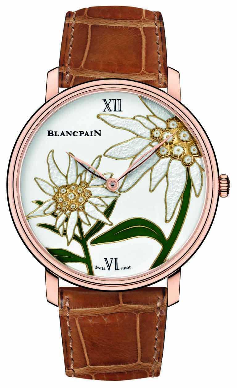 BLANCPAIN「Métiers d'Art大藝術家」系列,「瑞士雪絨花」微繪琺瑯工藝腕錶╱18K紅金錶殼,黃金錶盤,45mm╱2,727,000元。(圖╱BLANCPAIN提供)