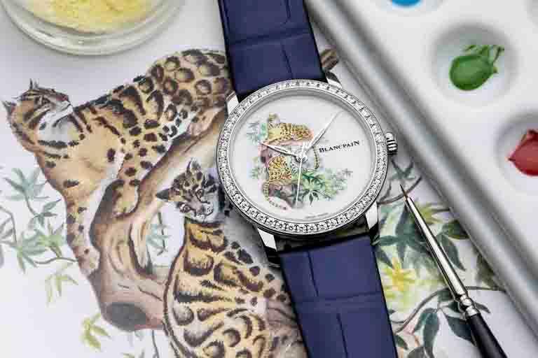 BLANCPAIN「Métiers d'Art大藝術家」系列,「台灣雲豹」陶瓷微繪琺瑯工藝腕錶╱18K白金錶殼,陶瓷錶盤,33.2mm,全球獨家限量款╱1,534,000元。(圖╱BLANCPAIN提供)