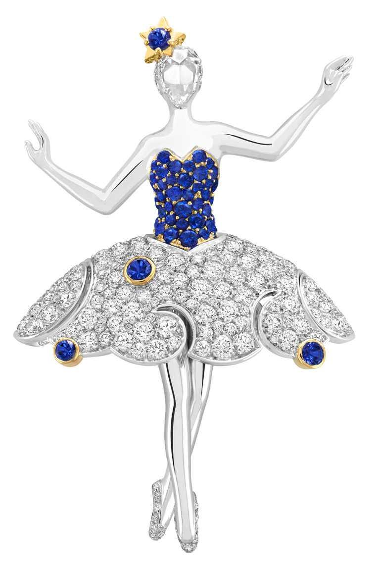 Van Cleef & Arpels「Téthys 」芭蕾舞伶胸針,白K金、黃K金、藍寶石、鑽石。(圖╱Van Cleef & Arpels提供)