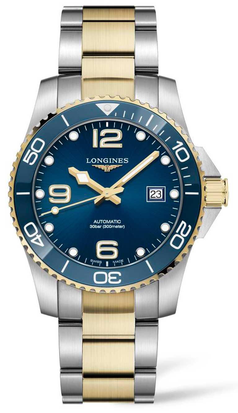 LONGINES「HydroConquest深海征服者」系列腕錶,藍色面盤款,41mm,不鏽鋼與金色PVD錶殼╱58,800元。(圖╱LONGINES提供)