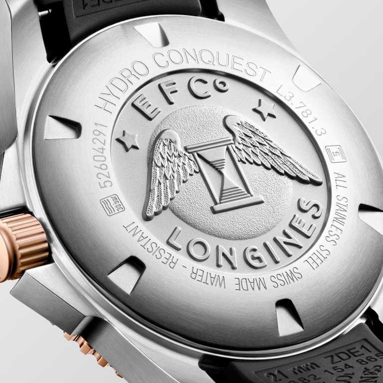 LONGINES「HydroConquest深海征服者」系列腕錶,黑色面盤款,41mm,不鏽鋼與玫瑰色PVD錶殼╱58,800元。(圖╱LONGINES提供)
