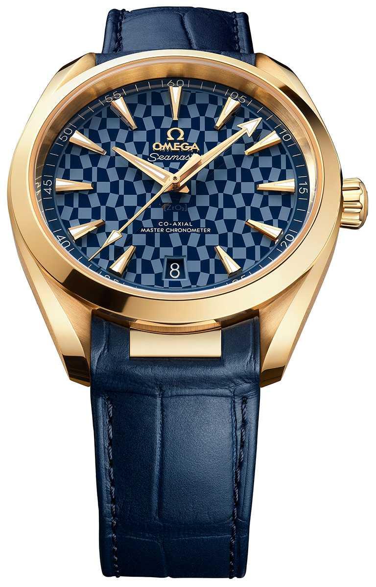 OMEGA「Seamaster海馬」系列,Aqua Terra 150米「東京2020」腕錶,41mm,18K黃金錶殼,8901型同軸擒縱大師天文台機芯╱605,000元。(圖╱OMEGA提供)