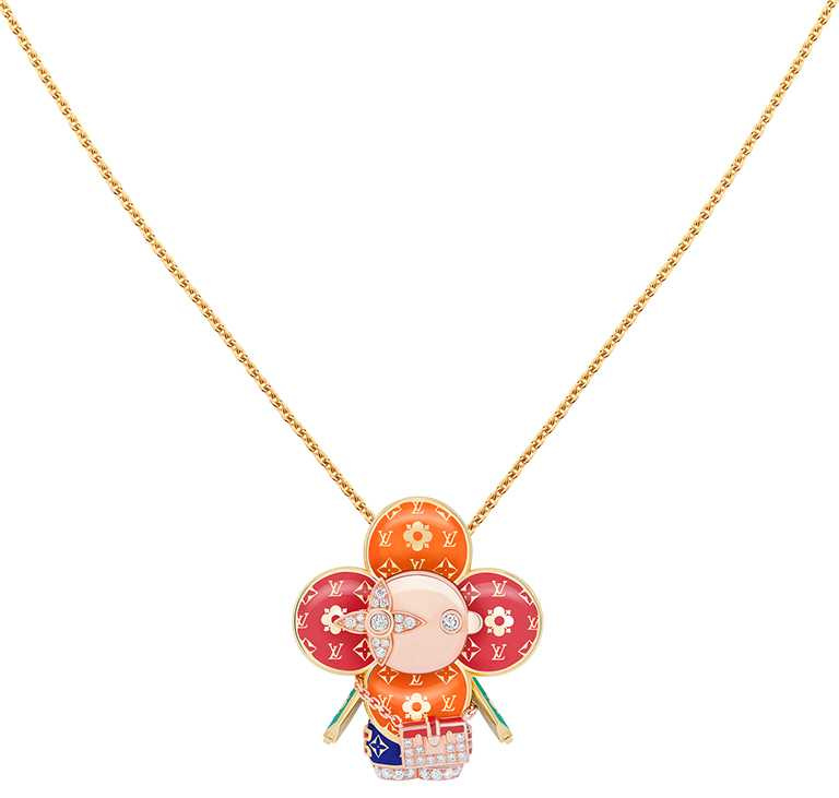 LOUIS VUITTON「Vivienne Petite Malle」黃K金、玫瑰K金及亮漆配鑽石吊墜╱990,000元。(圖╱LOUIS VUITTON提供)