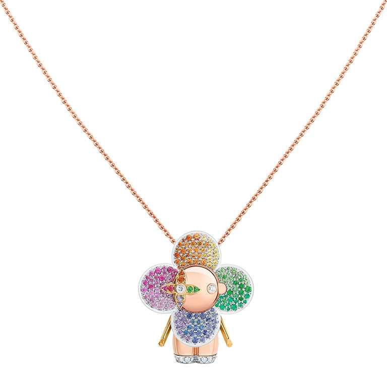 LOUIS VUITTON「Vivienne Rainbow」三色K金配鑽石及有色寶石吊墜╱915,000元。(圖╱LOUIS VUITTON提供)