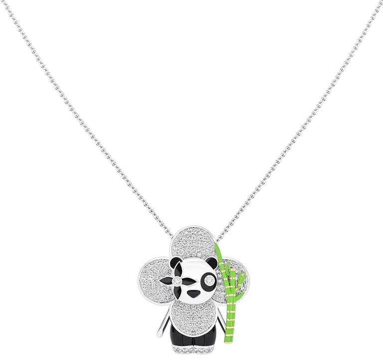 LOUIS VUITTON「Vivienne Panda」白K金及黃K金配縞瑪瑙、亮漆及鑽石吊墜╱1,080,000元。(圖╱LOUIS VUITTON提供)