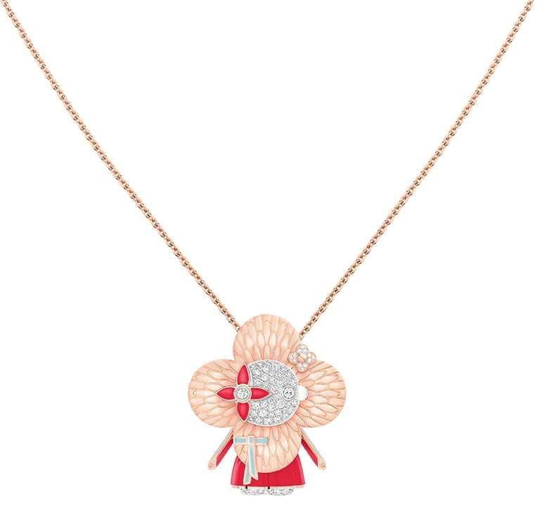 LOUIS VUITTON「Vivienne Hanbok」白K金、玫瑰K金及亮漆配鑽石吊墜╱990,000元。(圖╱LOUIS VUITTON提供)