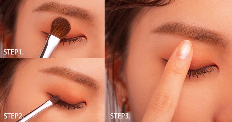 使用工具跟手指讓眼妝服貼,堆疊也不顯髒。(圖/愛女生九月號)