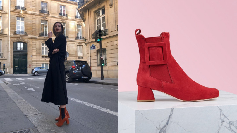 Roger Vivier Chelsea Très Vivier Covered Buckle Ankle Boots短靴/約35,000元(圖/翻攝自IG、品牌提供)
