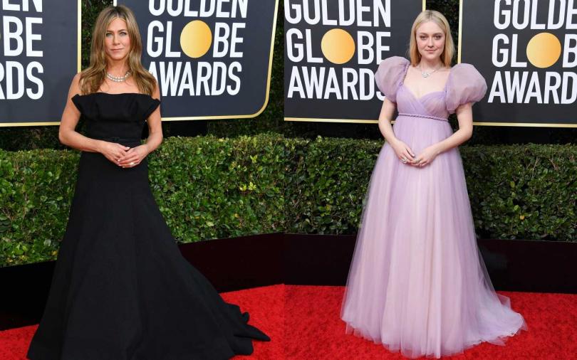 珍妮佛安妮茲頓穿上設計靈感來自Dior典藏中,一件迪奧先生以25公尺長的羊毛真絲縐綢製作而成的作品。達科塔·芬妮則身穿總計約20公尺長的薄紗製成的高級訂製晚禮服出席金球獎。(圖/品牌提供)