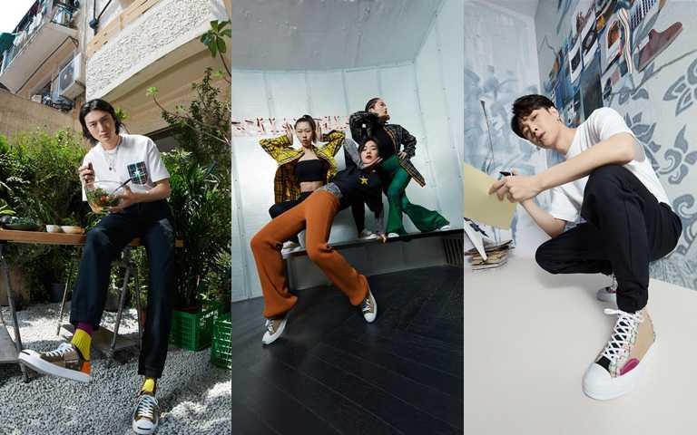 藝人張藝興、Voguing Shanghai創始人Shirley Milan及藝術家Ning的風格穿搭。(圖/CONVERSE)